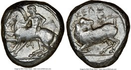 CILICIA. Celenderis. Ca. 425-350 BC. AR stater (17mm, 12h). NGC VF. Persic standard, ca. 425-400 BC. Youthful nude male rider, reins in right hand, ke...