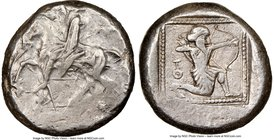 CILICIA. Tarsus. Ca. late 5th century BC. AR stater (19mm, 10.67 gm, 1h). NGC Choice VF 3/5 - 4/5. Satrap on horseback riding left, reins in left hand...