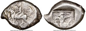 CILICIA. Tarsus. Ca. late 5th century BC. AR stater (22mm, 10.75, 6h). NGC VF 3/5 - 4/5. Ca. 420-410 BC. Satrap on horseback riding left, reins in lef...