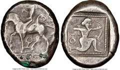 CILICIA. Tarsus. Ca. late 5th century BC. AR stater (18mm, 9.78 gm, 6h). NGC VF 3/5 - 3/5. Satrap on horseback riding left, reins in left hand, lotus ...