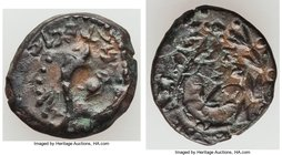 JUDAEA. Hasmoneans. Alexander Jannaeus (103-76 BC). AE prutah (15mm, 2.48 gm). VF. Double cornucopia adorned with ribbons, pomegranate between horns; ...