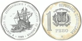 Dominican Republic 1 Peso 1990. Discovery and Evangelization
