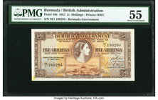Bermuda Bermuda Government 5 Shillings 1.5.1957 Pick 18b PMG About Uncirculated 55. Previously mounted.  HID09801242017