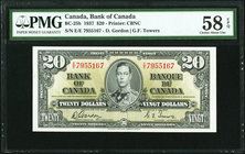 Canada Bank of Canada $20 2.1.1937 BC-25b PMG Choice About Unc 58 EPQ.   HID09801242017