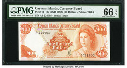 Cayman Islands Currency Board 100 Dollars 1974 (ND 1982) Pick 11 PMG Gem Uncirculated 66 EPQ.   HID09801242017