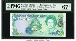 Cayman Islands Monetary Authority 50 Dollars 2001 Pick 29a* Replacement PMG Superb Gem Unc 67 EPQ.   HID09801242017