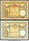French Indochina Banque de l'Indo-Chine 100 Piastres ND (1936-39) Pick 51d Two Examples Fine-Very Fine. Each example has some staple holes, small rust...