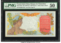 French Indochina Banque de l'Indo-Chine 100 Piastres ND (1949-54) Pick 82b PMG About Uncirculated 50.   HID09801242017