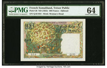 French Somaliland Tresor Public, Djibouti 100 Francs ND (1952) Pick 26 PMG Choice Uncirculated 64.   HID09801242017
