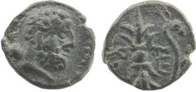 Pisidia, Selge AE . Circa 2nd-1st Century BC.  Laureate head of Herakles right, club over shoulder  Rev: Thunderbolt, bow to right.  SNG Copenhagen 26...