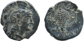 CILICIA, Soloi. Circa 400-350 BC. AE Helmeted head of Athena right Rev: Grape bunch.  SNG Levante 46; cf. SNG France 189; cf. SNG von Aulock 5874.  1,...