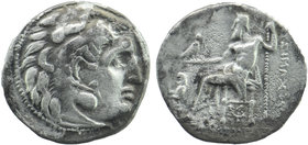 Macedonian Kingdom. Alexander III 'the Great'. 336-323 B.C. AR drachm Kolophon Head of Herakles right, wearing lion's skin headdress Rev: Zeus seated ...