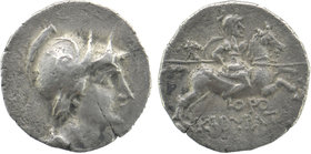 Phrygia. Kibyra 166-84 BC. Drachm AR Obv: Draped male bust right, wearing crested helmet. Rev: Horseman galloping right, holding couched spear and shi...