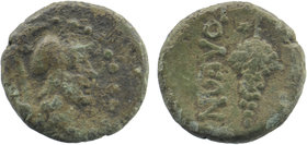 Cilicia, Soloi. Ca. 100-30 B.C. AE  Obv: Head of Helmeted head of Athena Right. Rev: ..OΛEΩN Grape bunch on vine. SNG France 1187; cf. SNG Levante 856...