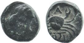 MYSIA. Priapos. Ae (Circa 300-200 BC). Obv: Laureate head of Apollo right. Rev: ΠPI / A. Crab; below, harpa right  SNG France -; SNG von Aulock 7526; ...