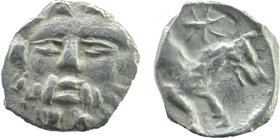 LYCAONIA, Laranda. Circa 330-320 BC. AR Obol Facing head of Herakles, club over shoulder. Rev; Forepart of wolf right; star above.  Göktürk 68-9; SNG ...