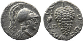 CILICIA, Soloi. Circa 410-375 BC. AR Obol Helmeted head of Athena right. Rev:Grape bunch with tendril; SNG von Aulock 5872 .Very fine. 0,55 gr. 10 mm