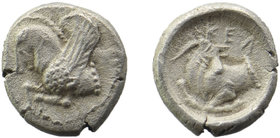 Cilicia. Kelenderis. AR Obol, 410-375 BC Obv: Forepart of Pegasos left. Rev: Forepart kneeling right, head reverted.  SNG Levante 27 0,82 gr. 10 mm