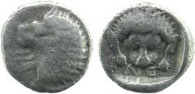 CARIA, Uncertain Mint. 500-450 BC. AR Obol Head of roaring lion Rev: Lion-skin mask in incuse square.  SNG.Cop.-. SNG.Fin.-. Rosen.-. Hersh Essays.pl8...