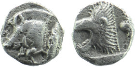 Mysia. Kyzikos 480 BC. Obol AR  Forepart of boar left, tunny upward to right / Head of roaring lion left. Von Fritze II 15; SNG France 380-384. 0,53 g...