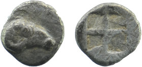 TROAS, Kebren. 5th century BC. AR Obol . R Ram's head right / Quadripartite incuse square.  SNG Ashmolean 1081. 0,32 gr. 8 mm