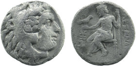 KINGS of MACEDON. Alexander III 'the Great'. 336-323 BC. AR Drachm Head of Herakles right, wearing lion's skin / seated left; 4,07 gr. 18 mm