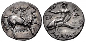 CALABRIA, Tarentum. Punic occupation. Circa 212-209 BC. AR Reduced Nomos – Half-Shekel (18mm, 3.86 g, 10h).