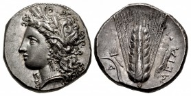 LUCANIA, Metapontion. Circa 330-290 BC. AR Nomos (20mm, 7.90 g, 8h).