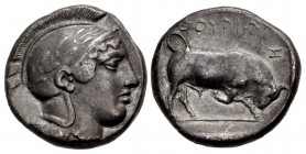 LUCANIA, Thourioi. Circa 443-400 BC. AR Double Nomos – Distater (24.5mm, 15.47 g, 9h).