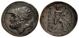 BRUTTIUM, The Brettii. Circa 208-203 BC. Æ Double – Didrachm (30mm, 11.81 g, 7h). Fourth coinage.