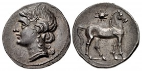BRUTTIUM, Carthaginian occupation. Circa 216-211 BC. AR Half Shekel (19.5mm, 3.80 g, 5h). Second Punic War issue.