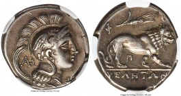 LUCANIA. Velia. Ca. 340-280 BC. AR nomos or didrachm (21mm, 7.26 gm, 2h). NGC XF S 5/5 - 5/5. Philistion group. Head of Athena right, wearing crested ...