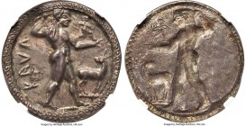 BRUTTIUM. Caulonia. Late 6th century BC. AR stater or nomos (30mm, 8.15 gm, 12h). NGC AU 4/5 - 5/5. KAVΛ, full-length figure of nude Apollo advancing ...