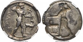 BRUTTIUM. Caulonia. Late 6th century BC. AR stater or nomos (30mm, 7.84 gm, 12h). NGC Choice VF S 5/5 - 4/5, Fine Style. KAVΛ, full-length figure of n...
