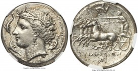 SICILY. Syracuse. Agathocles (317-289 BC). AR tetradrachm (27mm, 17.07 gm, 7h). NGC Choice XF 5/5 - 2/5, Fine Style. Pre-royal coinage, ca. 310-305 BC...
