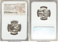 SICILY. Siculo-Punic. Entella. Ca. 345-315 BC. AR tetradrachm (25mm, 17.16 gm, 3h). NGC Choice AU 5/5 - 4/5. Head of Arethusa/Persephone right, wearin...