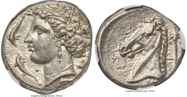 SICILY. Siculo-Punic. Ca. 320-300 BC. AR tetradrachm (25mm, 16.90 gm, 8h). NGC MS 4/5 - 5/5. Entella (?), 'Mem' issue. Head of Arethusa/Persephone lef...