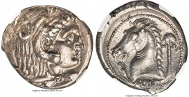 SICILY. Siculo-Punic. Ca. 300-289 BC. AR tetradrachm (27mm, 17.08 gm, 9h). NGC Choice AU 5/5 - 4/5. Head of young Heracles right, wearing lion skin he...