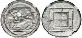 MACEDON. Acanthus. Ca. 470-430 BC. AR tetradrachm (27mm, 17.34 gm, 12h). NGC Choice AU 5/5 - 4/5. Lion springing right, biting into hind quarters of b...