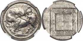 MACEDON. Acanthus. Ca. 470-430 BC. AR tetradrachm (27mm, 17.17 gm, 8h). NGC AU 5/5 - 4/5, Fine Style. Lion springing right, biting into hind quarters ...