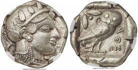 ATTICA. Athens. Ca. 465-455 BC. AR tetradrachm (25mm, 17.15 gm, 7h). NGC Choice AU S 5/5 - 4/5, Fine Style. Head of Athena right, wearing crested Atti...