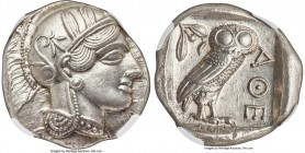 ATTICA. Athens. Ca. 440-404 BC. AR tetradrachm (25mm, 17.20 gm, 10h). NGC MS S 5/5 - 5/5. Mid-mass coinage issue. Head of Athena right, wearing creste...