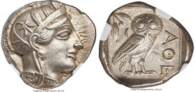 ATTICA. Athens. Ca. 440-404 BC. AR tetradrachm (26mm, 17.14 gm, 7h). NGC MS S 5/5 - 5/5. Mid-mass coinage issue. Head of Athena right, wearing crested...