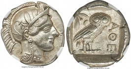ATTICA. Athens. Ca. 440-404 BC. AR tetradrachm (26mm, 17.18 gm, 7h). NGC MS S 5/5 - 4/5. Mid-mass coinage issue. Head of Athena right, wearing crested...