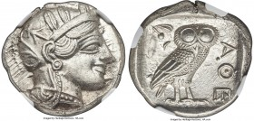 ATTICA. Athens. Ca. 440-404 BC. AR tetradrachm (25mm, 17.20 gm, 1h). NGC MS 5/5 - 5/5. Mid-mass coinage issue. Head of Athena right, wearing crested A...