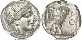 ATTICA. Athens. Ca. 440-404 BC. AR tetradrachm (24mm, 17.20 gm, 9h). NGC MS 5/5 - 5/5. Mid-mass coinage issue. Head of Athena right, wearing crested A...