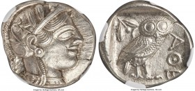 ATTICA. Athens. Ca. 440-404 BC. AR tetradrachm (26mm, 17.21 gm, 10h). NGC MS 5/5 - 5/5. Mid-mass coinage issue. Head of Athena right, wearing crested ...