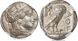 ATTICA. Athens. Ca. 440-404 BC. AR tetradrachm (24mm, 17.24 gm, 9h). NGC MS 5/5 - 5/5. Mid-mass coinage issue. Head of Athena right, wearing crested A...
