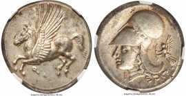 CORINTHIA. Corinth. Ca. 4th century BC. AR stater (21mm, 8.56 gm, 1h). NGC MS S 5/5 - 5/5. Ca. 375-300 BC. Pegasus flying left; Ϙ below / Head of Athe...