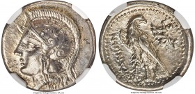 CRETE. Itanus. Ca. 330-270 BC. AR drachm (20mm, 5.46 gm, 12h). NGC Choice AU 5/5 - 4/5, light marks. Head of Athena left, wearing crested Attic helmet...